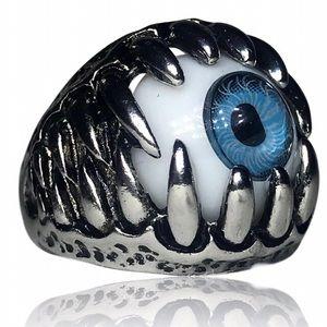 Gothic Blue Eye Dragon Claw Ring